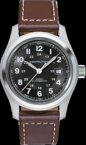Herrenuhr Hamilton Khaki Field Automatik 42mm mit schwarzem Zifferblatt und Kalbsleder-Armband