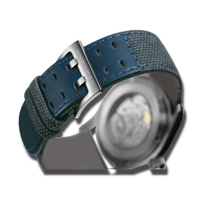 Herrenuhr Hamilton Khaki Field Automatik 42mm mit blauem Zifferblatt und Canvasarmband bei Brogle