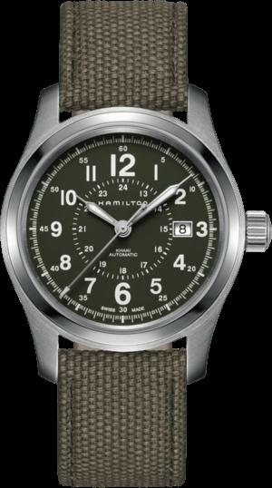 Herrenuhr Hamilton Khaki Field Automatik 42mm mit grünem Zifferblatt und Canvasarmband