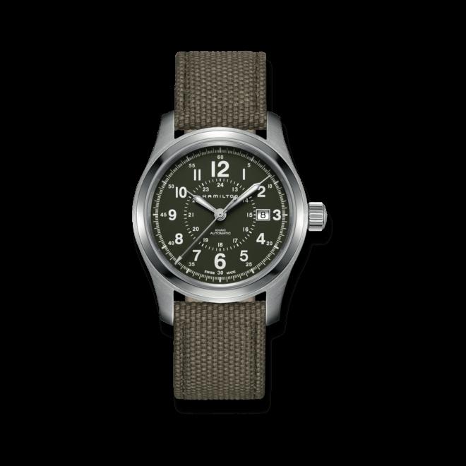 Herrenuhr Hamilton Khaki Field Automatik 42mm mit grünem Zifferblatt und Canvasarmband bei Brogle