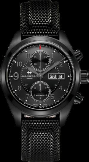 Herrenuhr Hamilton Khaki Field Automatik Chrono 42mm mit schwarzem Zifferblatt und Kautschukarmband