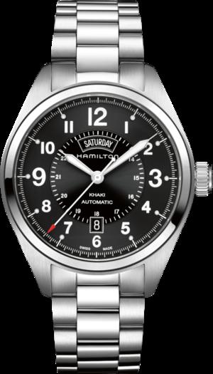 Herrenuhr Hamilton Khaki Field Day/Date Automatik 42 mm mit schwarzem Zifferblatt und Edelstahlarmband
