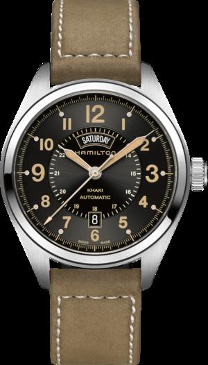 Herrenuhr Hamilton Khaki Field Day/Date Automatik 42 mm mit schwarzem Zifferblatt und Kalbsleder-Armband