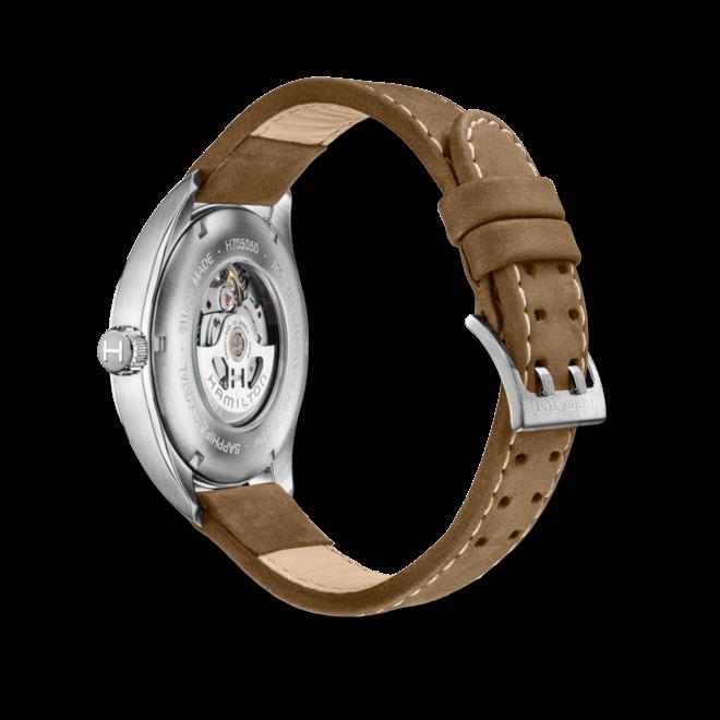 Herrenuhr Hamilton Khaki Field Day/Date Automatik 42 mm mit schwarzem Zifferblatt und Kalbsleder-Armband bei Brogle