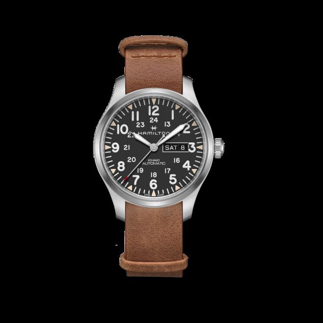 Herrenuhr Hamilton Khaki Field Day/Date Automatik 42 mm mit grauem Zifferblatt und Rindsleder-Armband bei Brogle