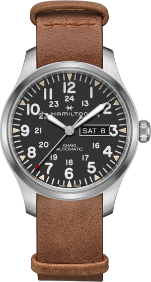 Herrenuhr Hamilton Khaki Field Day/Date Automatik 42 mm mit grauem Zifferblatt und Rindsleder-Armband