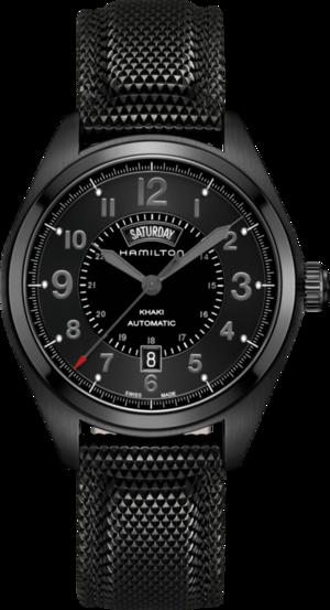 Herrenuhr Hamilton Khaki Field Day/Date Automatik 42 mm mit schwarzem Zifferblatt und Nylonarmband
