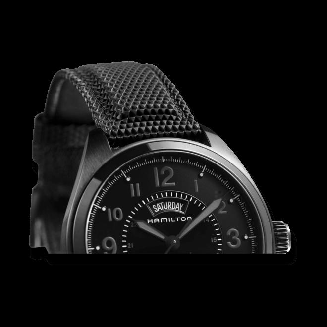 Herrenuhr Hamilton Khaki Field Day/Date Automatik 42 mm mit schwarzem Zifferblatt und Nylonarmband bei Brogle