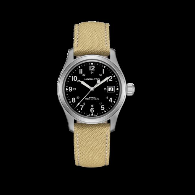 Herrenuhr Hamilton Khaki Field Handaufzug 38mm mit schwarzem Zifferblatt und Canvasarmband bei Brogle