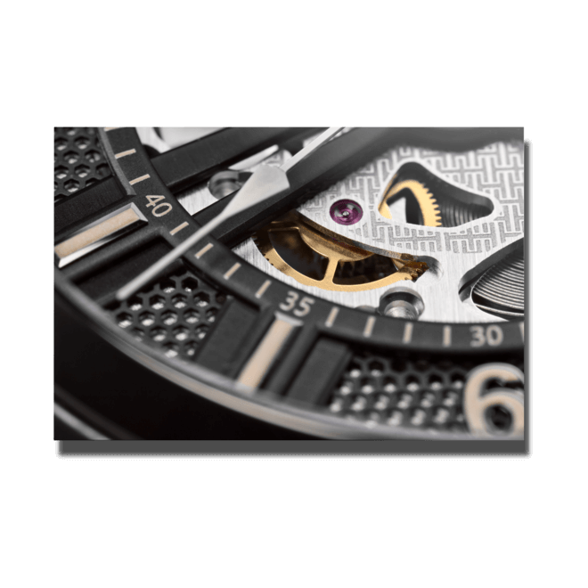 Herrenuhr Hamilton Khaki Skeleton Automatik 42mm mit schwarzem Zifferblatt und Kalbsleder-Armband bei Brogle
