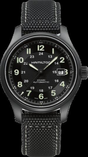 Herrenuhr Hamilton Khaki Titanium Automatik 42mm mit schwarzem Zifferblatt und Kautschukarmband