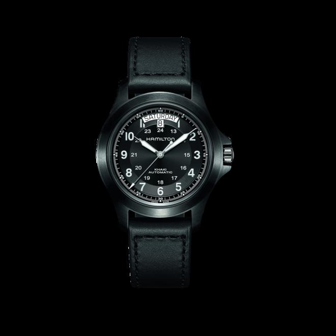 Herrenuhr Hamilton Khaki Field King Automatik 40mm mit schwarzem Zifferblatt und Kalbsleder-Armband bei Brogle