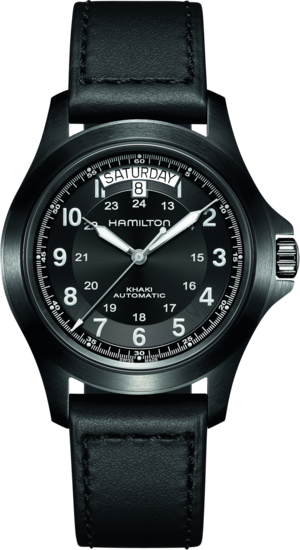 Herrenuhr Hamilton Khaki Field King Automatik 40mm mit schwarzem Zifferblatt und Kalbsleder-Armband