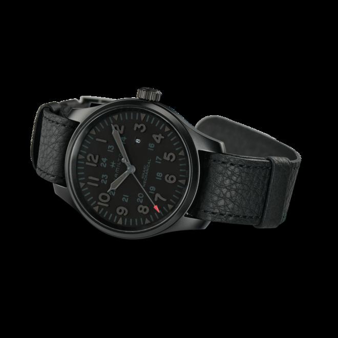 Herrenuhr Hamilton Khaki Field Mechanical 50mm mit schwarzem Zifferblatt und Rindsleder-Armband bei Brogle