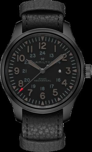 Herrenuhr Hamilton Khaki Field Mechanical 50mm mit schwarzem Zifferblatt und Rindsleder-Armband