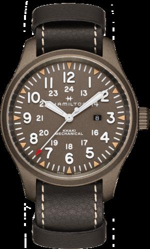Herrenuhr Hamilton Khaki Field Mechanical 50mm mit grünem Zifferblatt und Rindsleder-Armband