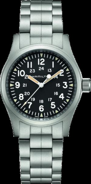Armbanduhr Hamilton Khaki Field Mechanical mit schwarzem Zifferblatt und Edelstahlarmband