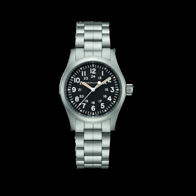 Armbanduhr Hamilton Khaki Field Mechanical mit schwarzem Zifferblatt und Edelstahlarmband bei Brogle
