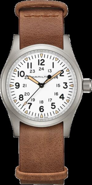 Herrenuhr Hamilton Khaki Field Mechanical mit weißem Zifferblatt und Rindsleder-Armband