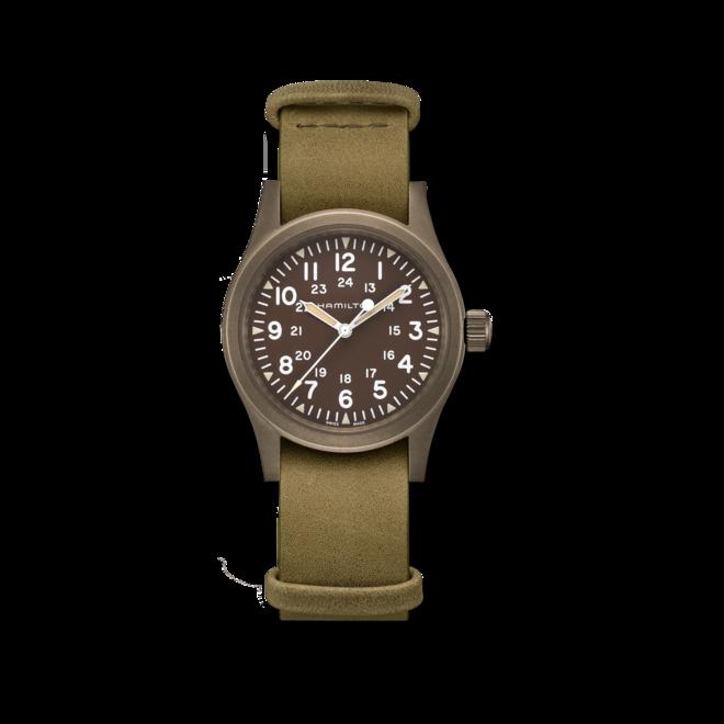 Armbanduhr Hamilton Khaki Field Mechanical mit braunem Zifferblatt und Rindsleder-Armband bei Brogle