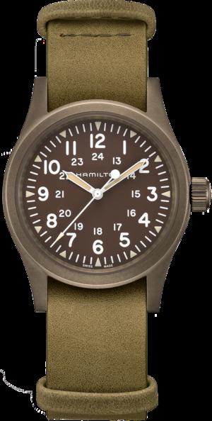 Armbanduhr Hamilton Khaki Field Mechanical mit braunem Zifferblatt und Rindsleder-Armband