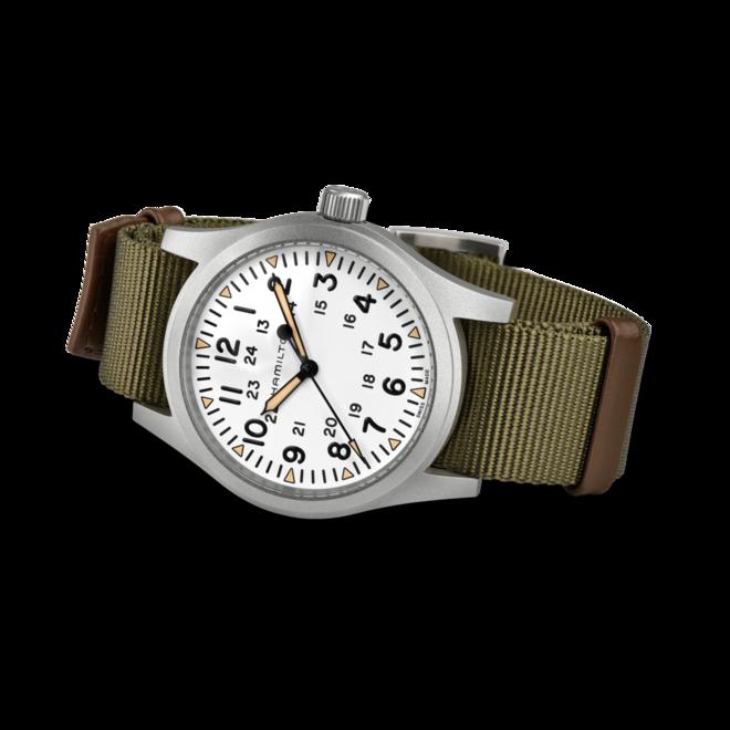 Herrenuhr Hamilton Khaki Field Mechanical mit weißem Zifferblatt und Textilarmband bei Brogle