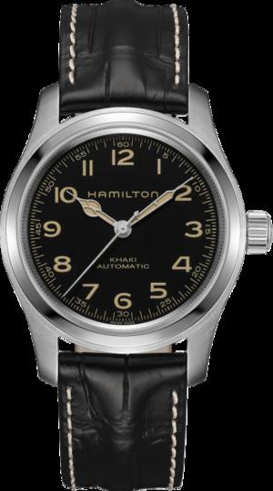 Herrenuhr Hamilton Khaki Field Murph Auto mit schwarzem Zifferblatt und Kalbsleder-Armband