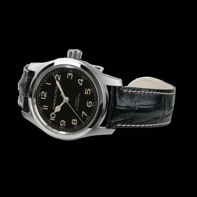 Herrenuhr Hamilton Khaki Field Murph Auto mit schwarzem Zifferblatt und Kalbsleder-Armband bei Brogle