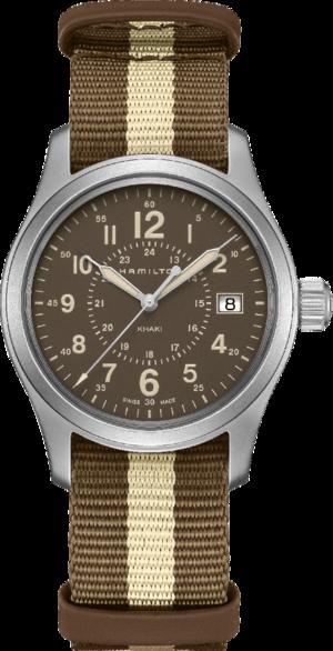 Armbanduhr Hamilton Khaki Field Quartz mit braunem Zifferblatt und Textilarmband