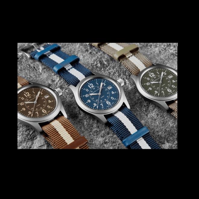 Armbanduhr Hamilton Khaki Field Quartz mit braunem Zifferblatt und Textilarmband bei Brogle
