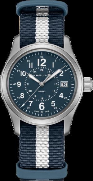 Armbanduhr Hamilton Khaki Field Quarz 38mm mit blauem Zifferblatt und Textilarmband
