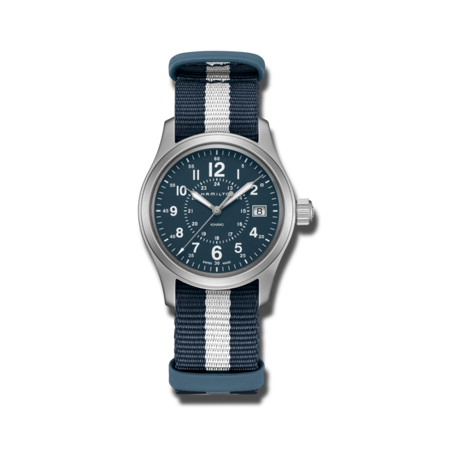 Armbanduhr Hamilton Khaki Field Quarz 38mm mit blauem Zifferblatt und Textilarmband bei Brogle