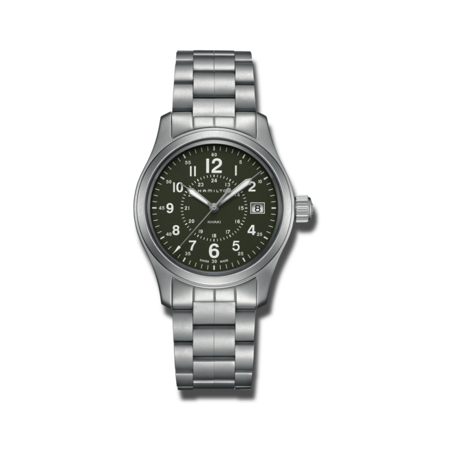 Armbanduhr Hamilton Khaki Field Quarz 38mm mit grünem Zifferblatt und Edelstahlarmband bei Brogle