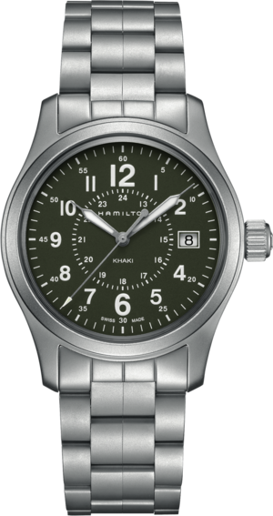 Armbanduhr Hamilton Khaki Field Quarz 38mm mit grünem Zifferblatt und Edelstahlarmband