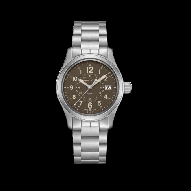 Armbanduhr Hamilton Khaki Field Quarz 38mm mit braunem Zifferblatt und Edelstahlarmband bei Brogle