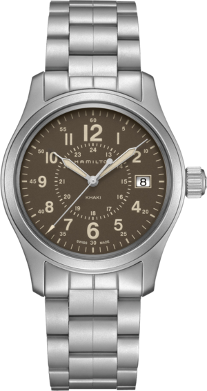 Armbanduhr Hamilton Khaki Field Quarz 38mm mit braunem Zifferblatt und Edelstahlarmband