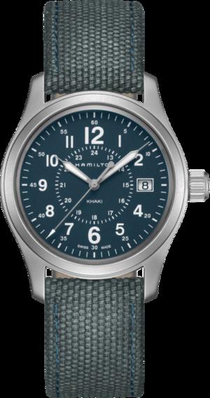 Armbanduhr Hamilton Khaki Field Quarz 38mm mit blauem Zifferblatt und Canvasarmband