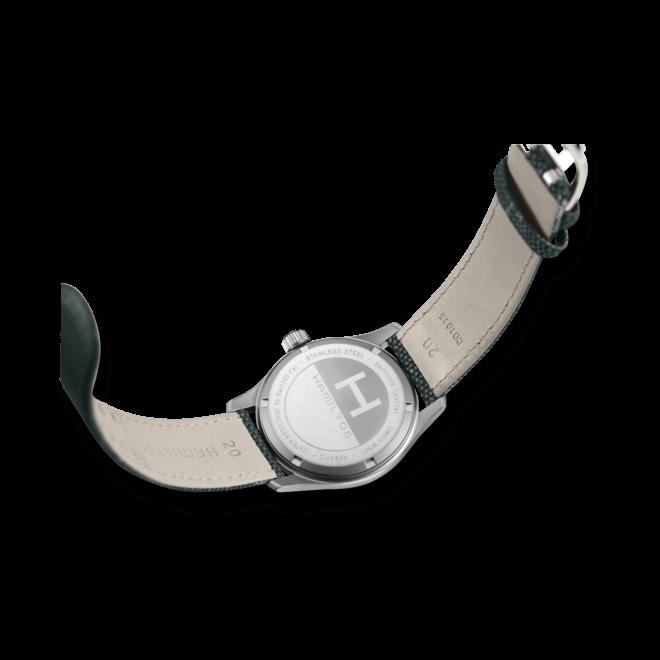 Armbanduhr Hamilton Khaki Field Quarz 38mm mit blauem Zifferblatt und Canvasarmband bei Brogle