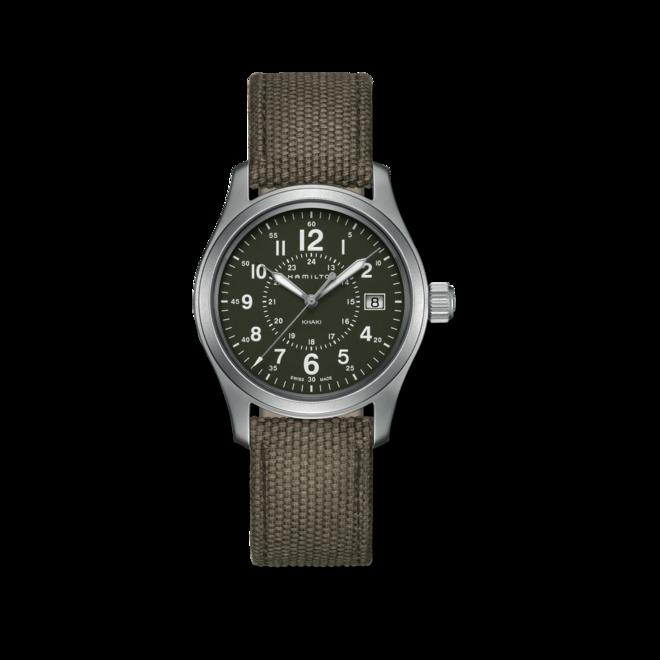 Armbanduhr Hamilton Khaki Field Quarz 38mm mit grünem Zifferblatt und Canvasarmband bei Brogle