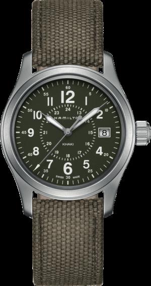 Armbanduhr Hamilton Khaki Field Quarz 38mm mit grünem Zifferblatt und Canvasarmband