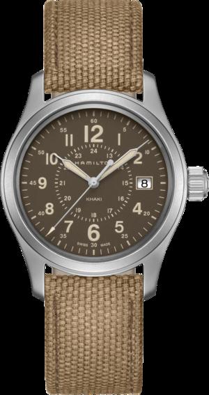 Armbanduhr Hamilton Khaki Field Quarz 38mm mit braunem Zifferblatt und Canvasarmband