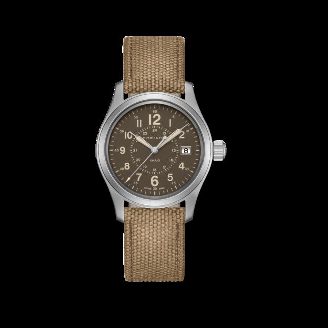 Armbanduhr Hamilton Khaki Field Quarz 38mm mit braunem Zifferblatt und Canvasarmband bei Brogle
