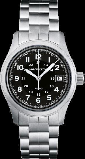 Armbanduhr Hamilton Khaki Field Quarz 38mm mit schwarzem Zifferblatt und Edelstahlarmband