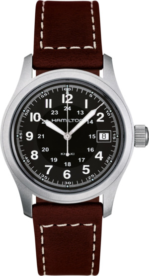 Herrenuhr Hamilton Khaki Field Quarz 38mm mit schwarzem Zifferblatt und Kalbsleder-Armband
