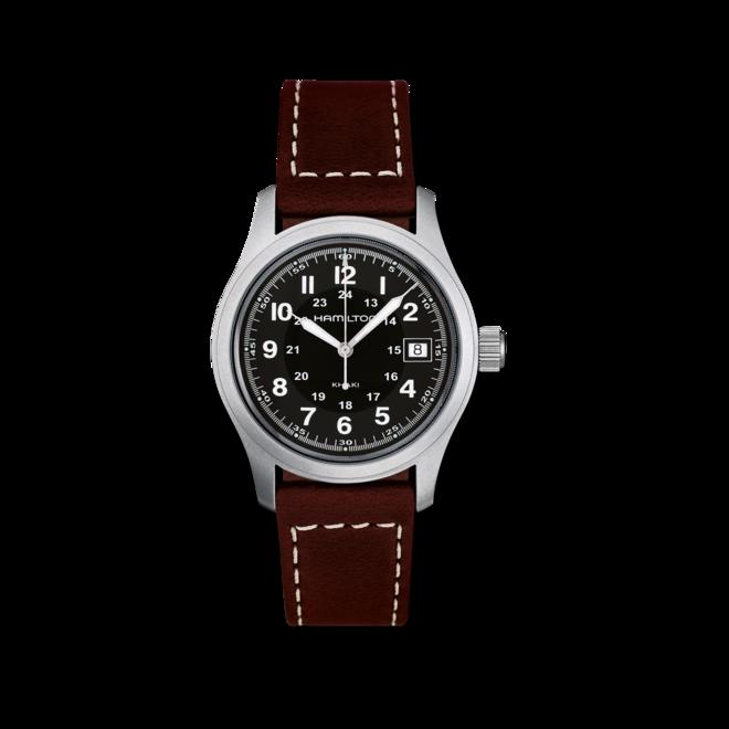 Herrenuhr Hamilton Khaki Field Quarz 38mm mit schwarzem Zifferblatt und Kalbsleder-Armband bei Brogle