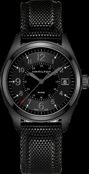 Herrenuhr Hamilton Khaki Field Quarz 40mm mit schwarzem Zifferblatt und Nylonarmband
