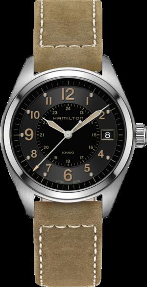 Herrenuhr Hamilton Khaki Field Quarz 40mm mit schwarzem Zifferblatt und Kalbsleder-Armband