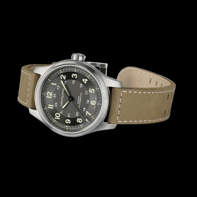 Herrenuhr Hamilton Khaki Field Titanium Automatik 42mm mit grünem Zifferblatt und Kalbsleder-Armband bei Brogle