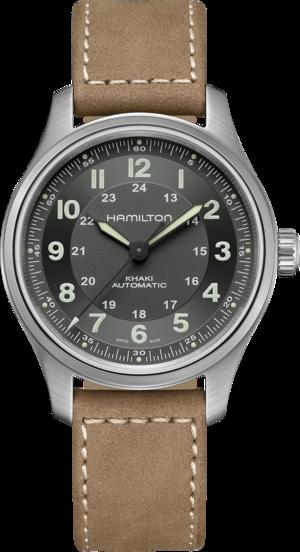 Herrenuhr Hamilton Khaki Field Titanium Automatik 42mm mit grünem Zifferblatt und Kalbsleder-Armband