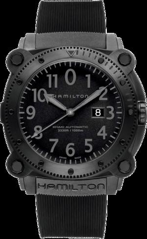 Herrenuhr Hamilton Khaki BeLOWZERO 1000m mit schwarzem Zifferblatt und Kautschukarmband